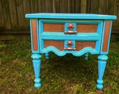 Teal and copper nightstand / end table