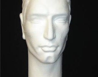 "ONE (1) #6264X White Econo-Form tm 16""H Stylized Male Mannequin head form by POLLY PRODUCTS Co."
