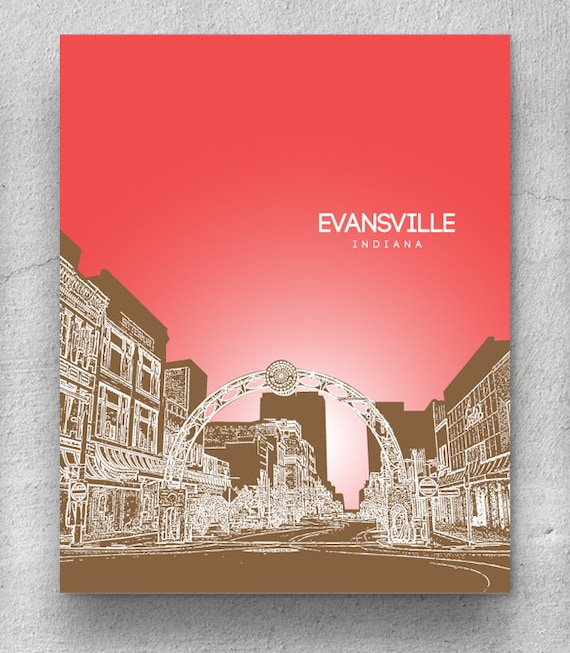 Evansville Indiana Skyline Home Office D Cor 8x10 Art Poster
