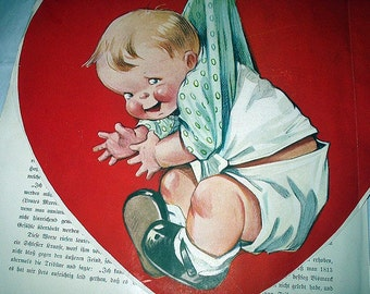Twelvetrees Red Valentine Heart Baby Boy With Diaper Stork Bird Large Vintage Cutout Magazine Artwork Holiday Theme Lithograph Home Decor