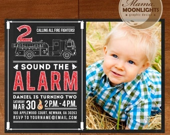 Fire Truck Invitation Chalkboard Style Custom Printable Birthday Party Photo Invite ( Red, White, Black ) Firetruck DIY