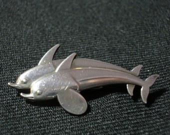 Georg Jensen Double Leaping Dolphins Pin in Sterling