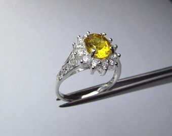 Wonderful Heliodor Oval in an Accented Sterling Silver Ring Size 7