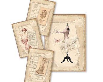 Tattered Paper Aged Paper in Vintage Style Digital ACEO Printable Collage