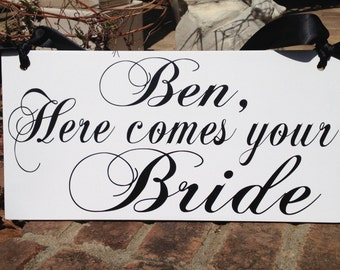 Wedding sign, HERE COMES the BRIDE, wedding signage, flower girl, ring bearer sign, photo props, single sided, 8x16, double sided, Custom
