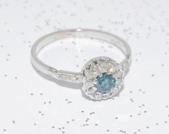 Art Deco-Inspired Blue Diamond Ring (18K White Gold)