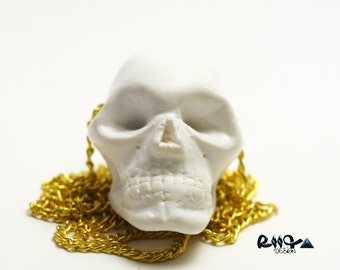 long necklace human skull polymer clay