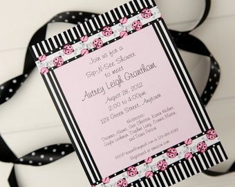 Pink Ladybug Invitation  Ladybug Sip & See Party Invitation Digital Invitation
