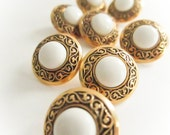 Gold Vine Pearl Buttons, Pearl Buttons, Vintage Buttons,Shank backing, Button jewelry, sewing buttons, garment buttons, plastic buttons