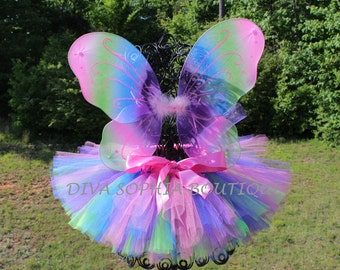 Pastel Rainbow Butterfly Wings with Tutu -  Butterfly Tutu Set - Newborn - Baby Infant Toddler up to size 4T