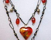 ON SALE - 20% OFF Unique Heart Pendant Necklace on Handmade, Layered Snap Swivel Chain