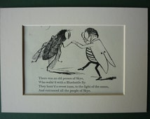 Vintage 1950 Edward Lear Print - Bluebottle Fly - Limerick - Nonsense - Waltz - Matted Ready To Frame - Dancing - Silly Song - Poem