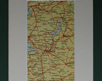 Original 1920s Print Of Central West Ireland - Road Map - Limerick - Yellow - Matted - Tipperary - Irish - Wathenry - Mounted