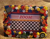 SALE - Race Car Themed Button Picture Frame