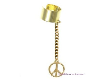 Peace Sign Ear Cuff Body Jewelry- Available in Gold or Silver