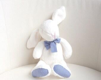 Plush bunny, rabbit, stuffed, white, Easter bunny - baby shower toy - baby boys