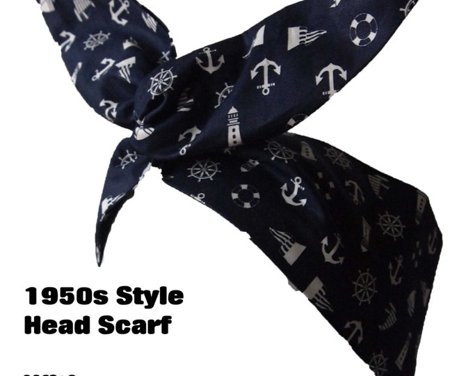 Navy Nautical Rockabilly Head Scarf With or Without Wire - Anchor Sailor 1950s Bandana Hair Tie Navy Pin Up Girl Vintage