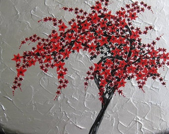 """red, black, silver, gray, grey, wall painting, paintings, art, cherry blossom, tree, blossoms, trees,  abstract, art, zen, Japanese,16""""x 16"""""""