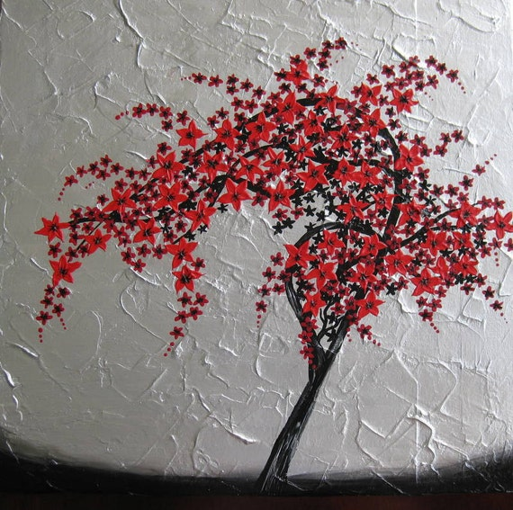 Red black silver gray grey wall painting paintings art for Cherry blossom mural works