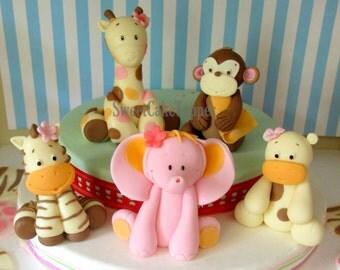 5 Sweet Safari Animal Fondant Cake Topper - Handmade Edible Cake Topper - 5 Pcs