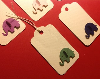 Gift card, gift tag, 3d elephants tag, package of 10