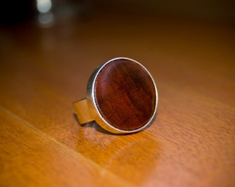 Large Redheart Ring - Sterling Silver - Adjustable