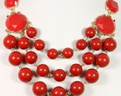 NEW Red Statement Necklace,Round Beads Necklace,3 layers,Bib Bubble Necklace,Chunky Necklace,Cluster Necklace-BN0371