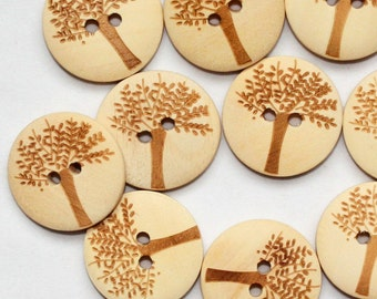Tree Design Wooden Buttons with 2 Holes (20mm, 10 in a set)