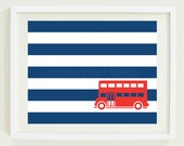 "British Bus Striped Art Print for Nursery, Kids Room, Home Decor - 8""x10"" - Red, White, and Blue OR Choose Your Own Colors - GatheredNestDesigns"