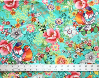 Birds and Flowers on Green  - One Yard - Cotton Fabric