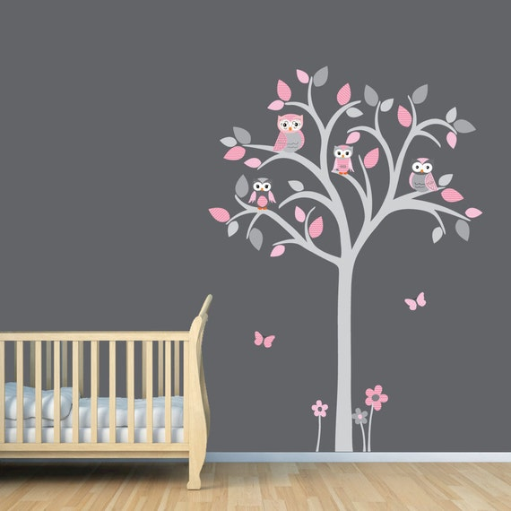 Owl tree decal, Owl tree wall sticker, Owl Nursery Art, owl wall decal