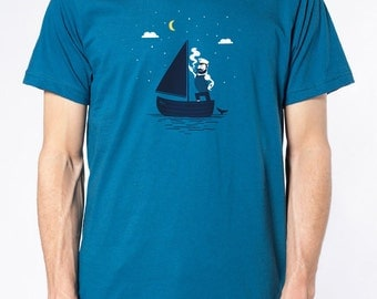 Shirt men teal - Sailorman Captain maritime / organic cotton American Apparel - printing