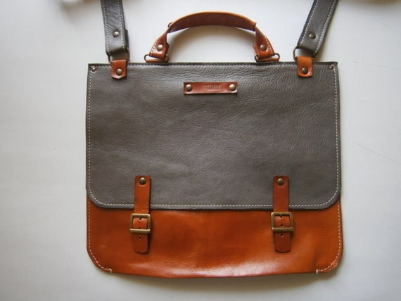 """Genuine Leather Briefcase, Messenger Bag, 13""""laptop Bag, Handmade Leather Bag,Men's retro satchel bag,student bag, School bag"""