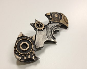 Steampunk Clockwork Batman fridge magnet and pin