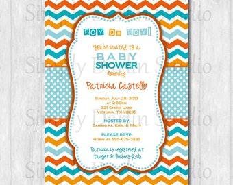 DIGITAL Aqua (blue) and Orange CHEVRON Baby Shower Invitation Invite BOY You Print