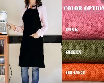 Aprons for Women Full Apron Kitchen Apron Black Burlap Full Kitchen Apron - Customize in Beige, Pink, Green, Orange, Blue, Black, Ivory