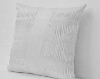 Decorative Pillow, White Pillow Cover, Cotton Throw Pillow, Accent Pillows 16X16 White Throw Pillows, White Cushion Cover, Pleated Pillow