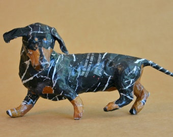 Dachshund, Unique Whimsical Paper Mache Dog Sculpture
