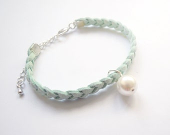 Braided Pastel Mint Green Suede Bracelet with Pearl