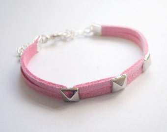 Pastel Pink Suede Bracelet with Silver Pyramid Spikes