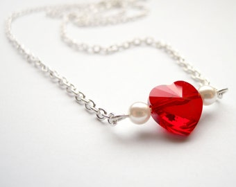 Romantic necklace with Red Swarovski heart pendant and white pearls