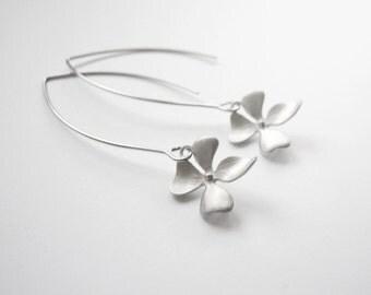 Silver Five leaf clover earrings