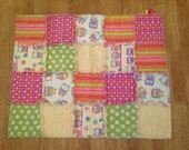 Itty Bitty Rag Quilt with Green, Yellow, Orange, Pink with Owls