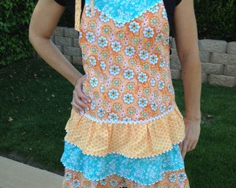 Full Retro Apron with 3-tier ruffle skirt
