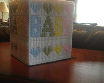 Baby Tissue Box Cover  Plastic Canvas  Handmade