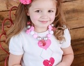 Pink, White & Silver Bow Chunky Gumball Beaded Necklace