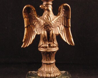 Vintage brass and glass eagle candle holder