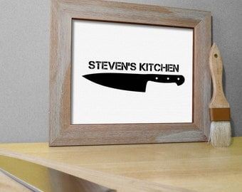 Kitchen Art Print Chef Knife - Chef Decor - Chef Kitchen Poster - Dining Room Decor - Personalized Kitchen Wall Art Print - Choose Colors
