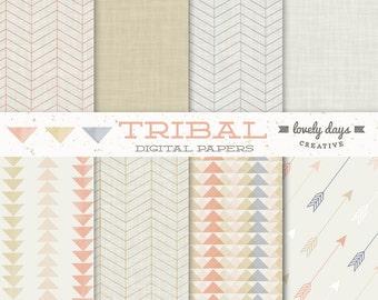 Digital Paper TRIBAL styled Scrapbook paper INSTANT DOWNLOAD