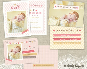 Girl Birth Announcement Set Templates for Photographers INSTANT DOWNLOAD